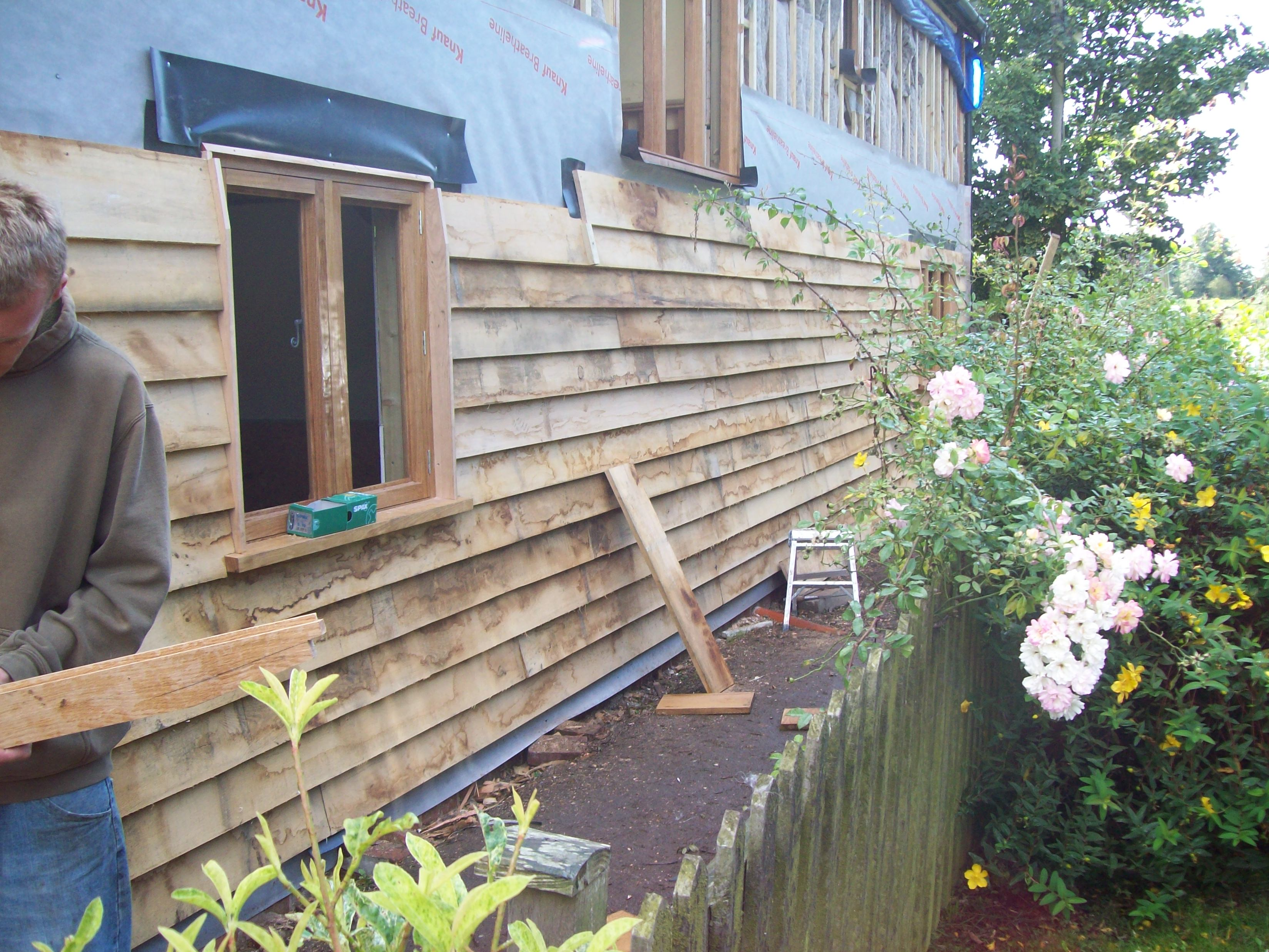 Local oak cladding underway